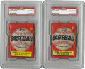 Baseball Collectibles:Others, 1966 Topps Unopened Wax Packs, PSA EX-MT 6 Group Lot of 2. Card numbers 1 through 109 are possible in this high-grade wax, ...