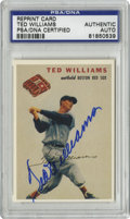 Autographs:Sports Cards, Ted Williams Signed Card, PSA Authentic. The Splendid Splinter hasplaced a perfect blue sharpie signature to the PSA-grade...