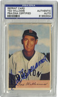 Autographs:Sports Cards, Ted Williams Signed Card, PSA Authentic. Excellent reproduction ofthe elusive Ted Williams card from the 1954 Bowman issue...