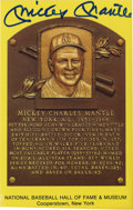 Autographs:Letters, Mickey Mantle Signed Hall of Fame Plaque. Yellow bordered Hall ofFame plaque commemorating the induction of Mickey Mantle ...