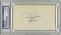 Autographs:Index Cards, Dizzy Dean Signed Index Card, PSA Mint 9. The ace of the GashouseGang Dizzy Dean has here signed an index to the grade of ...