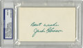 Autographs:Index Cards, Jackie Robinson Signed Index Card, PSA Mint 9. The man whointegrated baseball when he crossed the color barrier for theBro...