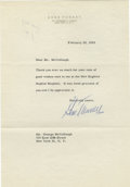 Boxing Collectibles:Autographs, Gene Tunney Signed Letter. Known as the fighter that beat Jack Dempsey twice, Tunney was the heavyweight boxing champion fr...