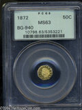 California Fractional Gold: , 1872 50C Indian Octagonal 50 Cents, BG-940, R.4, MS63 PCGS.