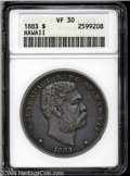 Coins of Hawaii: , 1883 $1 Hawaii Dollar VF30 ANACS. Dove-gray patina ...