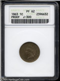 1863 1C One Cent, Judd-300, Pollock-360, Low R.7, PR62 ANACS. Struck from regular issue obverse and reverse dies, but wi...