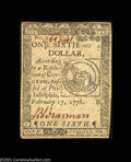 Colonial Notes:Continental Congress Issues, Continental Currency February 17, 1776 $1/6 Choice Extremely ...