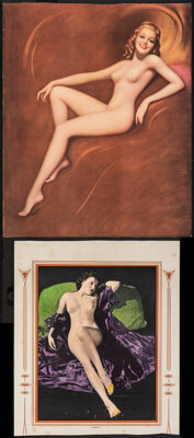 """Pin-Up Calendar Lot (1930s - 1950s). Rolled, Fine+. Trimmed Pin-Up Prints (4) (12"""" X 11"""", 11"""" X 13""""..."""