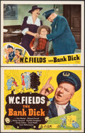 """Movie Posters:Comedy, The Bank Dick (Realart, R-1949). Overall: Very Fine-. Title Lobby Card & Lobby Card (11"""" X 14""""). Comedy.. ... (Tota..."""