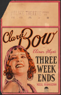 """Movie Posters:Comedy, Three Week Ends (Paramount, 1928). Fine. Window Card (14"""" X 22""""). Comedy.. ..."""