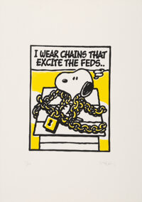 Mark Drew (b. 1978) I Wear Chains That Excite the Feds (Nas) (Split Yellow/Silver), 2018 Screenprint in color and silv...