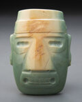 Pre-Columbian:Stone, A Large and Important Jade Head Pendant...