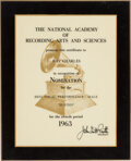 """Music Memorabilia:Awards, Ray Charles Presented Grammy Nomination Certificate For """"Busted"""" (1963)...."""