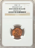194X 1C Lincoln Cent -- Straight Clip -- MS66 Red and Brown NGC
