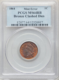 1864 1C Bronze No L, Indian Cent -- Clashed Dies -- MS64 Red and Brown PCGS