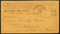 Post Office Department Registry Return Receipt About Uncirculated