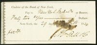 Cashier of the Bank of New-York $42.80 Feb. 29, 1834 Very Fine, CC