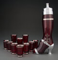 Glass, West Virginia Specialty Glass Co. (American, 20th Century). Lady's Leg Cocktail Shaker and Ten Cups, cir...