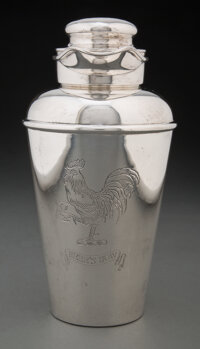 """Whiting Manufacturing Company (American, est. 1840) """"Here's How"""" Cocktail Shaker, 1925 Silver 9 x"""