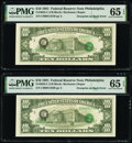 Error Notes:Third Printing on Reverse, Third Printing on Back Error Fr. 2025-C $10 1981 Federal Reserve Notes. Two Consecutive Examples. PMG Gem Uncirculated 65 EPQ.... (Total: 2 notes)