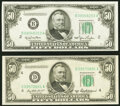 Small Size:Federal Reserve Notes, Fr. 2107-B $50 1950 Federal Reserve Note. Choice Crisp Uncirculated;. Fr. 2109-D $50 1950B Federal Reserve Note. Choice Ab... (Total: 2 notes)
