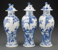 Ceramics & Porcelain, A Group of Three Chinese Blue and White Porcelain Covered Jars. Marks: Four-character Kangxi mark in blue underglaze. 12 x 4... (Total: 3 Items)