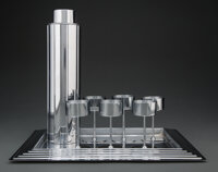 Norman Bel Geddes (American, 1893-1958) Eight -Piece Manhattan Cocktail Set, introduced 1935, Revere Co