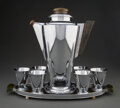 Silver & Vertu, Manning, Bowman & Co. (American). Extremely Rare Eight-Piece K1570 Cocktail Set, circa 1928. Chrome, Jade catalin. 13-1/... (Total: 8 Items)
