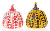 Yayoi Kusama (b. 1929) Red and Yellow Pumpkin (two works), circa 2013 Painted cast resin 4 x 3-1/