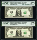Radar Serial Numbers 81666618 and 81677618 and Fancy Serial Number 81666666 Fr. 3005-K $1 2017A Federal Reserve Notes. P...