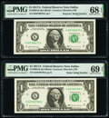 Small Size:Federal Reserve Notes, Radar Serial Number 88799788 and Repeater Serial Number 88798879 Fr. 3005-K $1 2017A Federal Reserve Notes. PMG Graded Superb...