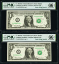 Small Size:Federal Reserve Notes, Radar Serial Numbers 85566558 and 85666658 Fr. 3005-K $1 2017A Federal Reserve Notes. PMG Gem Uncirculated 66 EPQ.. ... (Total: 2 notes)