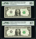 Small Size:Federal Reserve Notes, Fancy Serial Numbers 85666666 and 88777777 Fr. 3005-K $1 2017A Federal Reserve Notes. PMG Graded Gem Uncirculated 65 EPQ; Supe... (Total: 2 notes)
