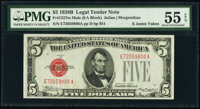 Fr. 1527 $5 1928B Mule Legal Tender Note. PMG About Uncirculated 55 EPQ