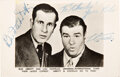 """Movie/TV Memorabilia:Autographs and Signed Items, Abbott and Costello Signed Photo Card. A 5 ½"""" x 3..."""