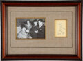 Movie/TV Memorabilia:Autographs and Signed Items, The Three Stooges Signatures In Framed Cut Matted With Pho...