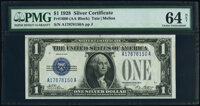 Fr. 1600 $1 1928 Silver Certificate. PMG Choice Uncirculated 64 Net