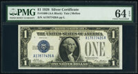 Fr. 1600 $1 1928 Silver Certificate. PMG Choice Uncirculated 64 EPQ