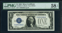 Fr. 1600 $1 1928 Silver Certificates. C-A and D-A Blocks. PMG Graded Choice About Unc 58 EPQ; Choice Extremely Fine 45 E...