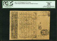 Cohen 1850s Reprint Rhode Island July 5, 1715 Redated 1737 3s PCGS Apparent About New 50