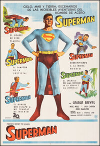 """Superman (20th Century Fox, 1950s). Very Fine- on Linen. Argentinean Stock One Sheet (29"""" X 43""""). Science Fict..."""