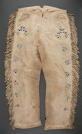 American Indian Art:Beadwork and Quillwork, A Pair of Santee Sioux Beaded Hide Trousers...