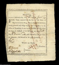 Colonial Notes:Massachusetts, Massachusetts January 28, 1777 Bounty Note. Signed by ...