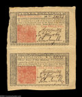 Colonial Notes:New Jersey, New Jersey March 25, 1776 3s and 6s Vertical Pair About New.