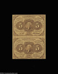 Fractional Currency:First Issue, Fr. 1230 5c First Issue Vertical Pair Gem New. A beautiful ...