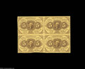 Fractional Currency:First Issue, Fr. 1230 5c First Issue Block of Four Choice About New. A ...