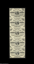 Fractional Currency:Third Issue, Fr. 1226 3c Third Issue Vertical Strip of Five Choice New. ...