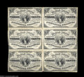 Fractional Currency:Third Issue, Fr. 1226 3c Third Issue Block of Six Extremely Fine. Each ...