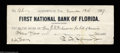 Miscellaneous:Other, F.E. Spinner Check. Drawn on the Jacksonville Branch of ...