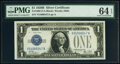 Small Size:Silver Certificates, Fr. 1602 $1 1928B Silver Certificate. V-A Block. PMG Choic...
